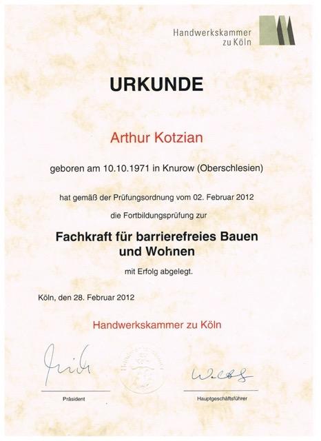 Urkunde zur Fachkraft für barrierefreies Bauen und Wohnen